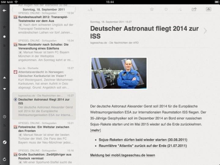 iPad im Querformat. Die Navigation ist sichtbar (Screenshot Reeder App)