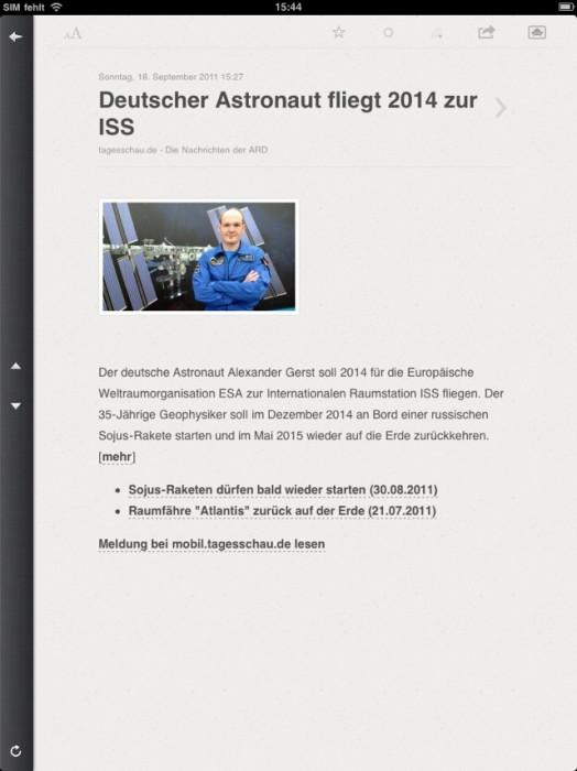 iPad im Hochformat. Konzentration auf das Wesentliche (Screenshot Reeder App)