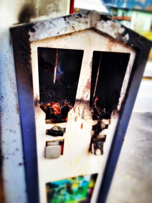 Abgebrannter Kaugummi-Automat
