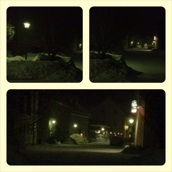 Nachtlichter im Schnee