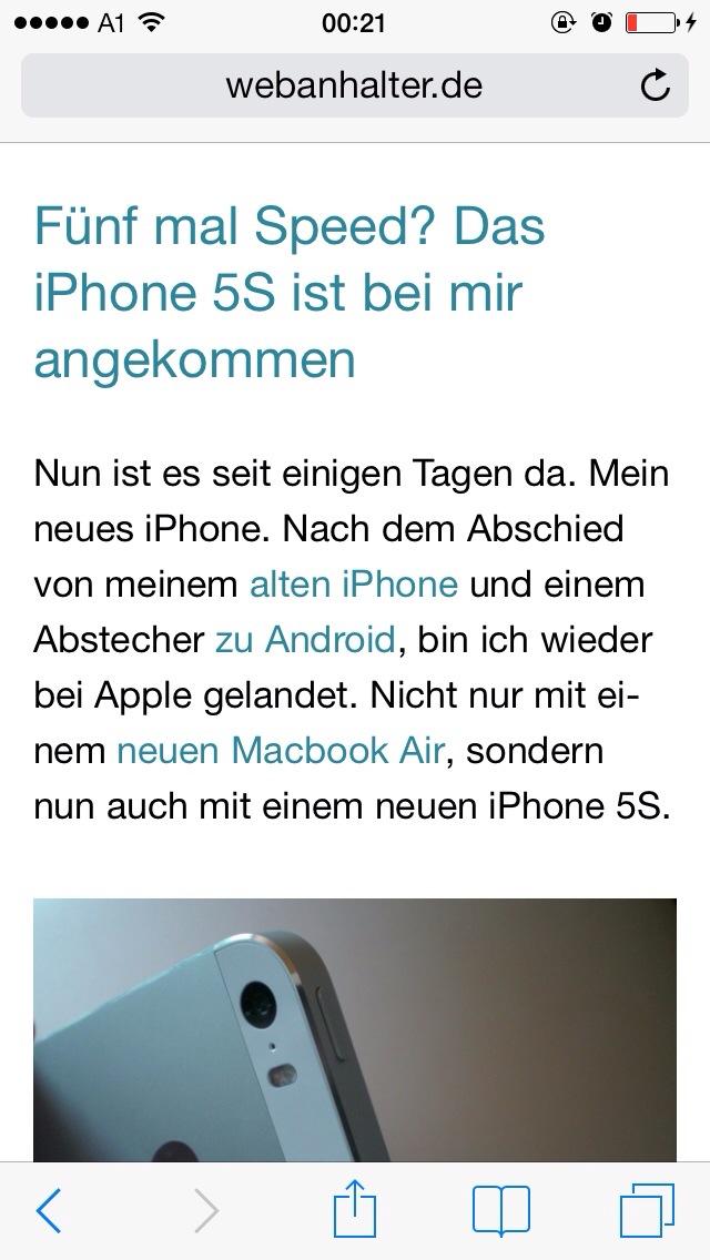 In Mobile Safari IOS 7 Die Navigationselemente Wieder Einblenden