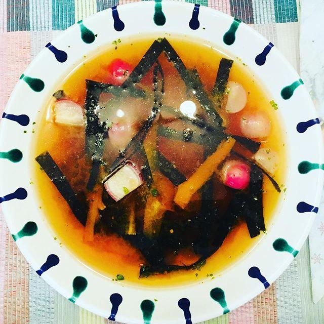 Misosuppe. Auch ohne Ingwer sehr lecker…#misosuppe #foodporn #saturdayissoupday #vegan