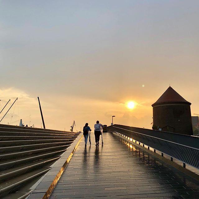 Sunset in Hamburg Port