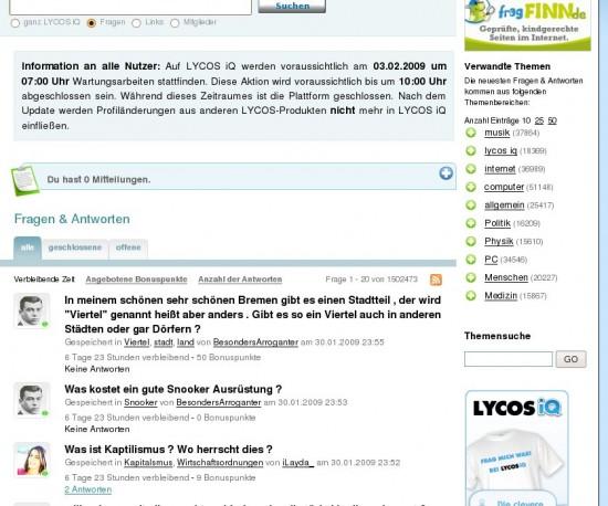 Lycos iQ mit Teaser & Spreadshirt