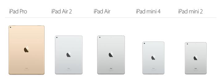 Screenshot: Vergleich von iPad Pro mit anderen iPads auf der Apple-Seite