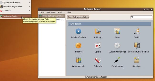 Ubuntu Karmic Koala: Übersicht im Software Center