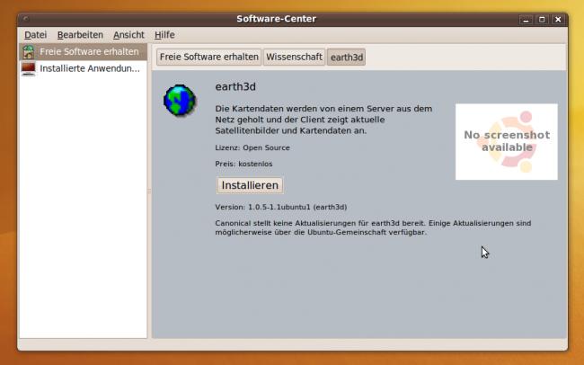 Ubuntu Karmic Koala: Nicht jede App im Software Center hat schon einen Screenshot
