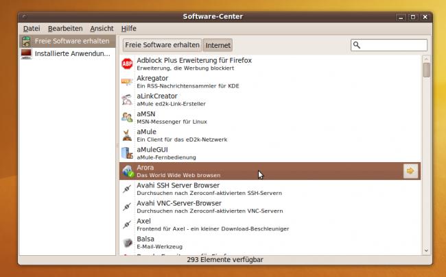 Ubuntu Karmic Koala: Das Software Center bringt eine Übersicht über freie Software