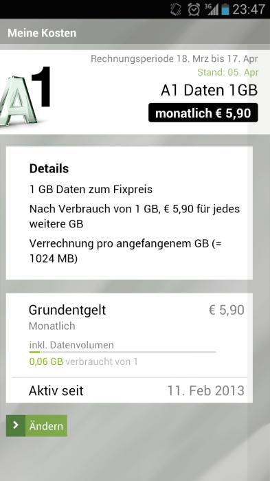 """Tarifoption Zusätzliches Datenvolumen in der A1 App """"Mein A1"""""""