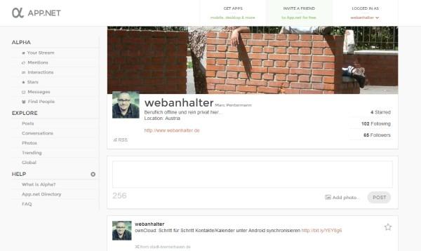 App.net (ADN) - Profilansicht @Webanhalter
