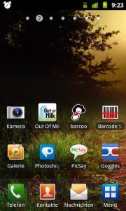 Android Homescreen: Kamera, Grafik und Barcodes