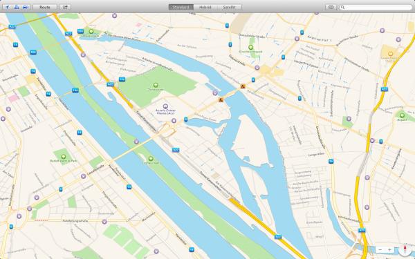 Apple Maps mit eingeschalteter 3D- und Verkehrsansicht in Wien