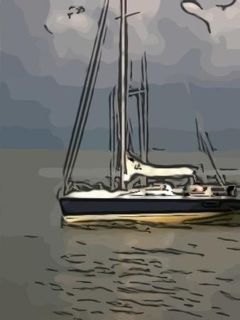 Segelschiff als Comic-Zeichnung