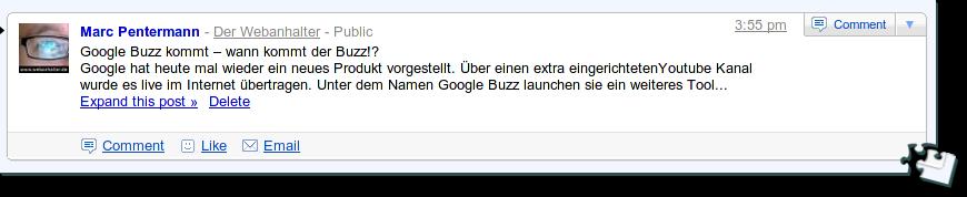Blogpost bei Google Buzz