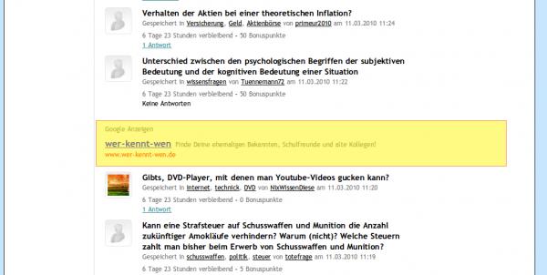 """Adsense-Anzeigen auf """"Alle Fragen"""" - heruntergescrollt (Besucher)"""