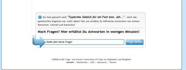 Fragestellen-Schlitz für Besucher von Suchmaschinen