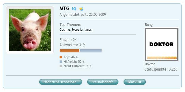 COSMiQ: Profilseite von MTG