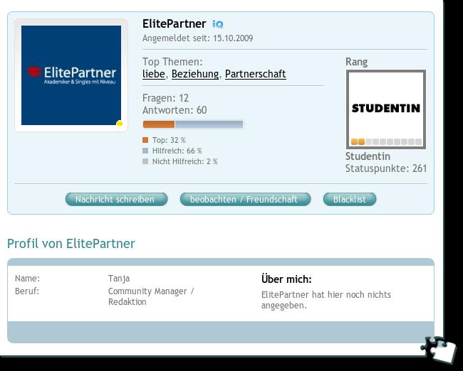 ElitePartnerprofil bei COSMiQ