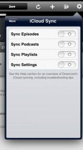 Synchronisierung über iCloud bietet Downcast für alles
