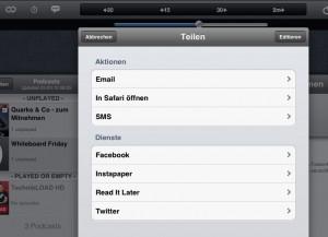 Erweitertes Share-Menü in der iPad-App
