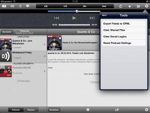 Das Menü Tools. Export einer OPML-Datei und ähnliches