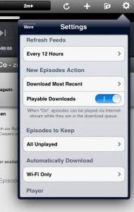 Settings in der iPad-App (unvollständige Übersicht)