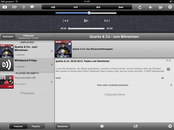 Downcast auf dem iPad