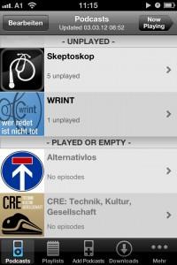 Podcastliste mit und ohne neuen Folgen