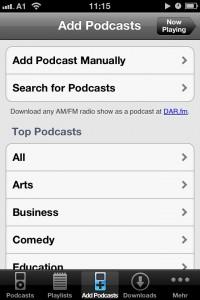 Podcasts hinzufügen mit Downcast
