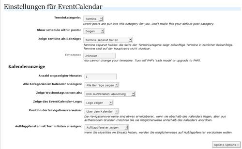 Einstellungen von Event Calendar