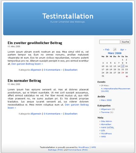 Homepage mit Event Calendar