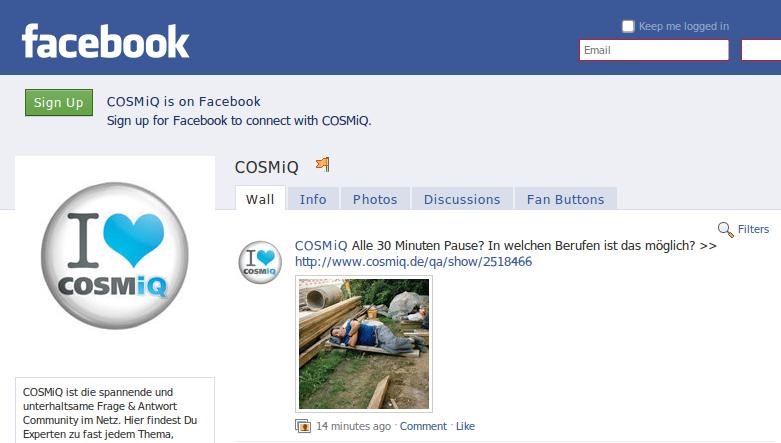 Facebook-Fanpage von COSMiQ