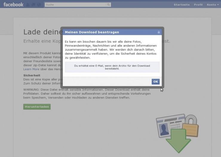 Facebook: Download des Profils wird generiert