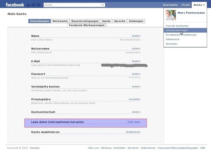 Der Download findet sich in den Kontoeinstellungen des Facebook-Profils