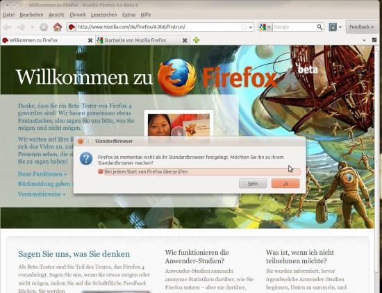 Firefox 4 (beta 6) - Der erste Start des Browsers