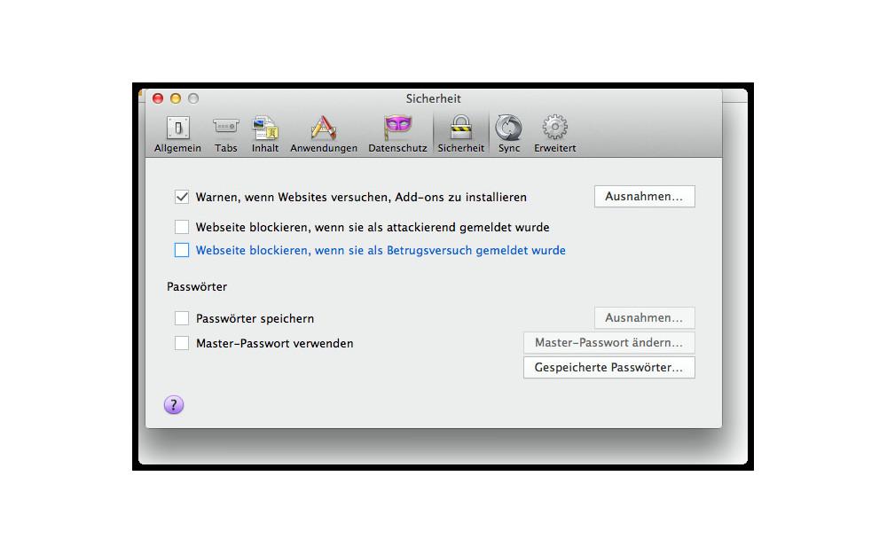 Firefox Einstellungen zum Malware- und Phishing-Schutz