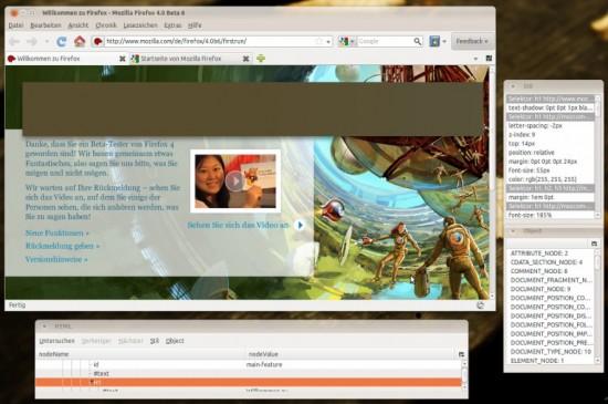 Firefox 4 mit Webdevelopment-Funktionen