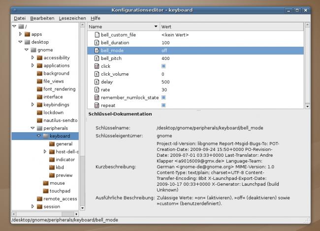 gconf-editor: bell_mode auf 'off' setzen