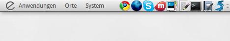 Gnome Panel mit Schnellstartern; Elementary-Desktop mit Droid Sans als Schriftart