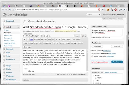Google Chrome Browser mit Erweiterungen