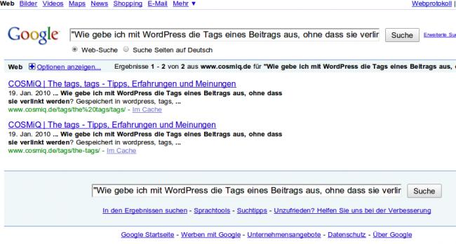 Googlesuche: Frage nicht im Index