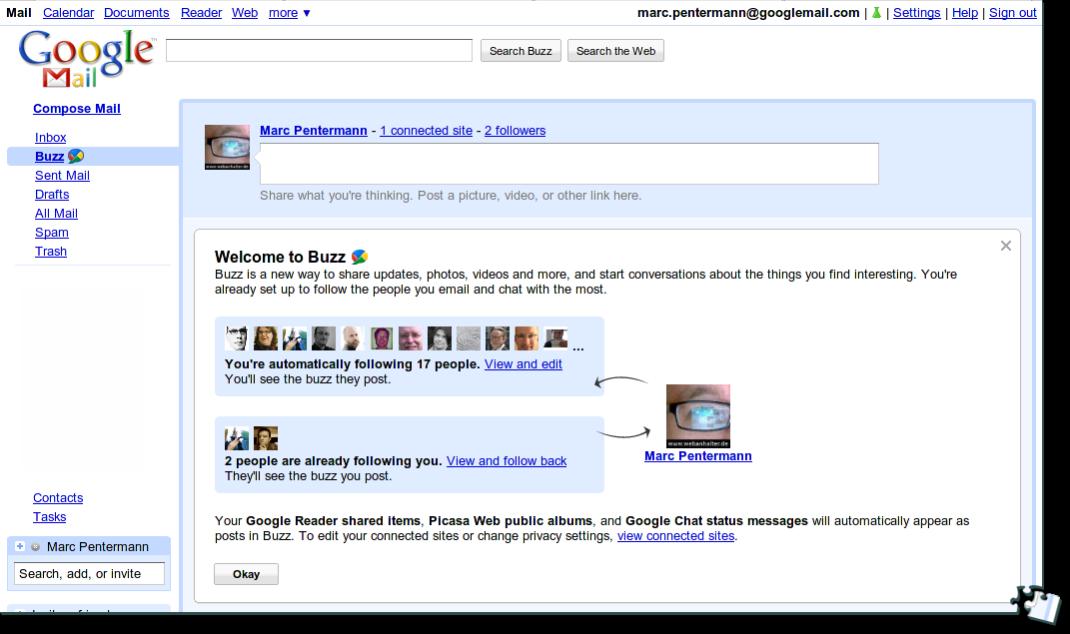 Google Buzz: Erste Ansicht