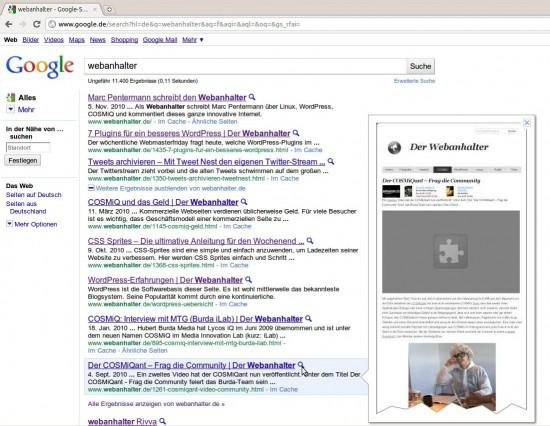 Google Instant Preview: Youtube Videos werden nicht angezeigt, Amazon Werbelocks aber schon