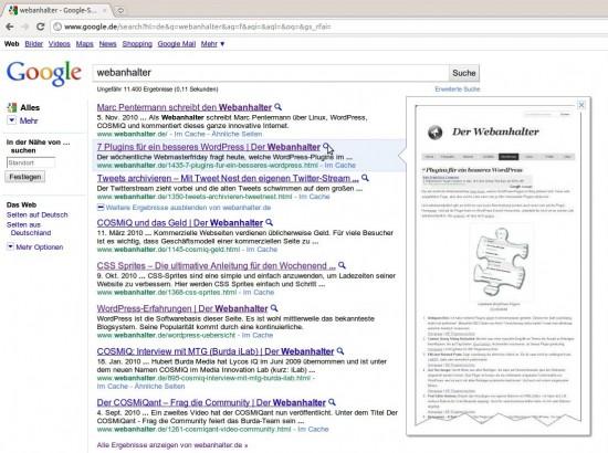 Google Instant Preview: Ein kleiner Adsense-Werbeblock bleibt in der Anzeige erhalten