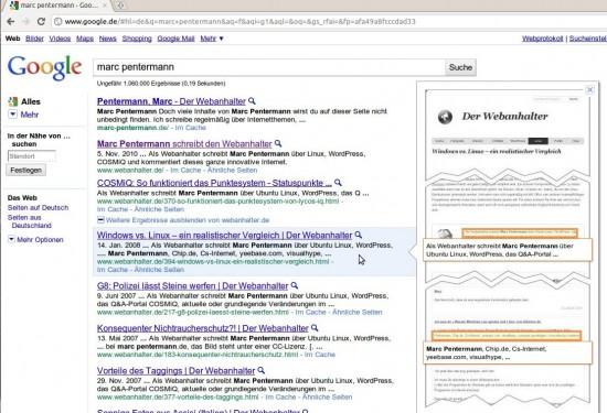 Google Instant Preview: Vorschau je nach Suchanfrage