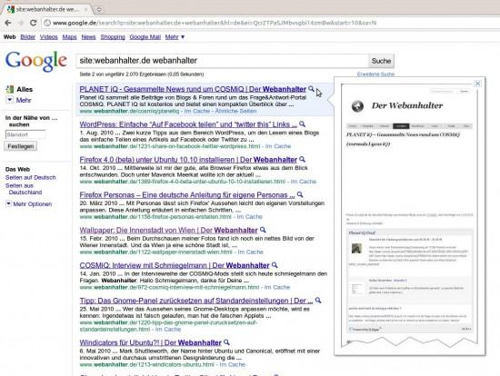 Google Instant Preview: Yahoo Pipes werden verarbeitet
