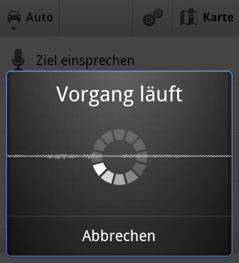 Google Navigation verarbeitet die Spracheingabe des Fahrtzieles