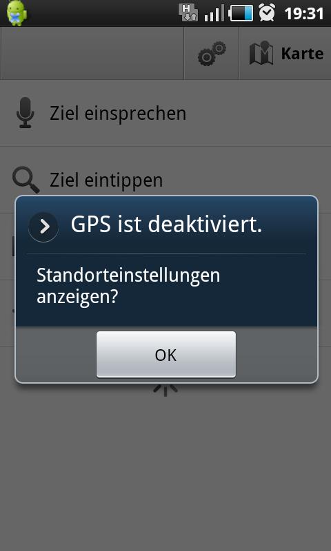 Die App verlangt beim Start, dass GPS aktiviert ist