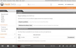 Einstellungsfenster im Player (mit eingerichteten Geräten)