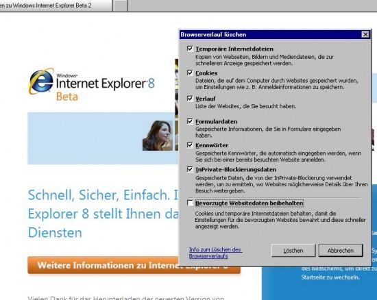 IE8: Browserverlauf löschen